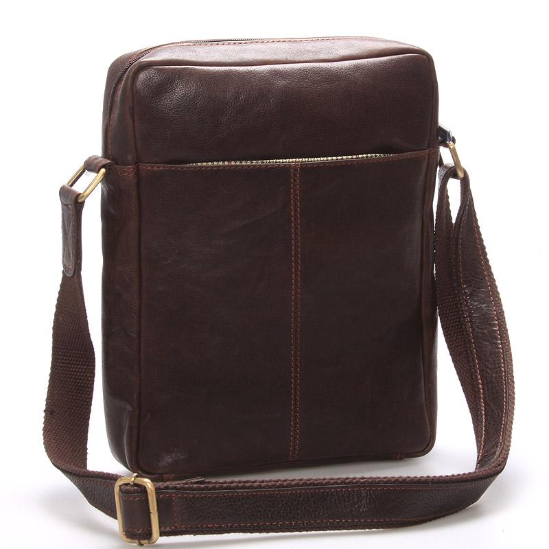 Elegantná pánska kožená taška cez rameno hnedá - SendiDesign Turner