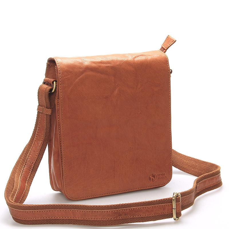 Kvalitné kožená taška svetlohnedá- SendiDesign Chaim