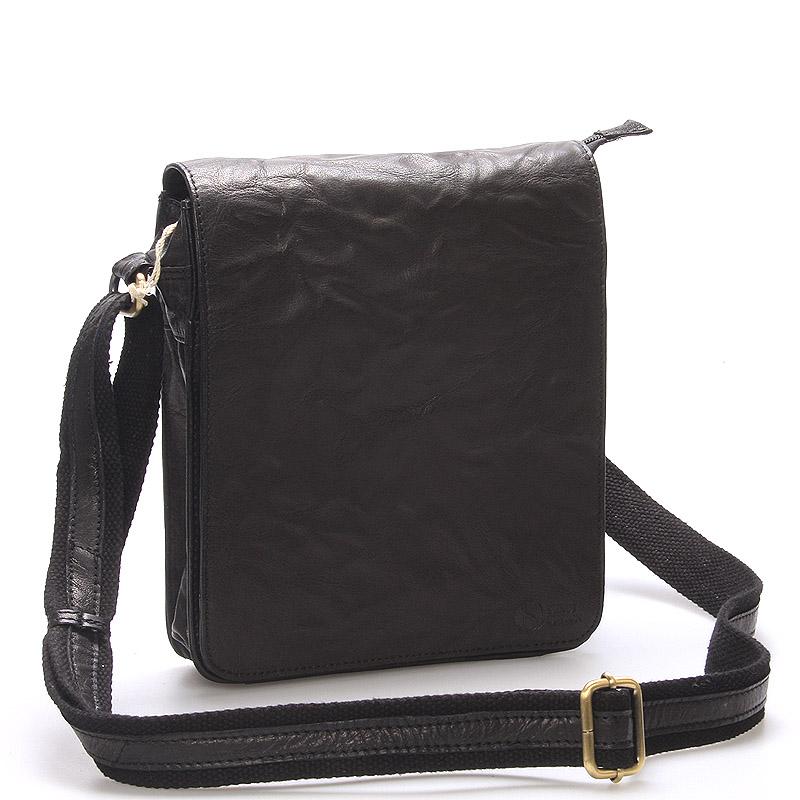 Kvalitná čierna kožená brašňa - SendiDesign Chaim