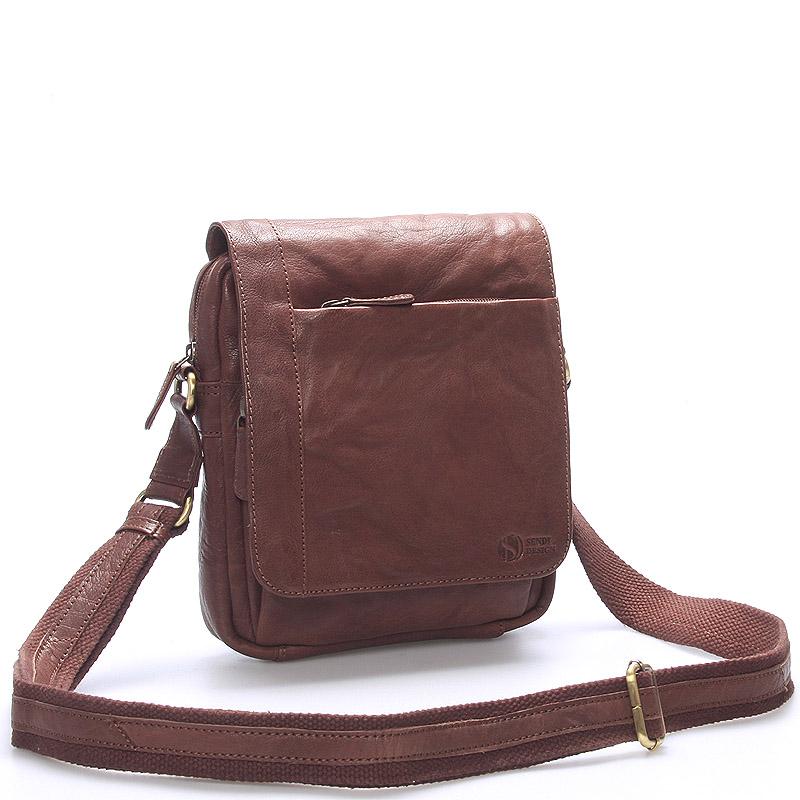 Kvalitná hnedá pánska kožená taška - SendiDesign Appart