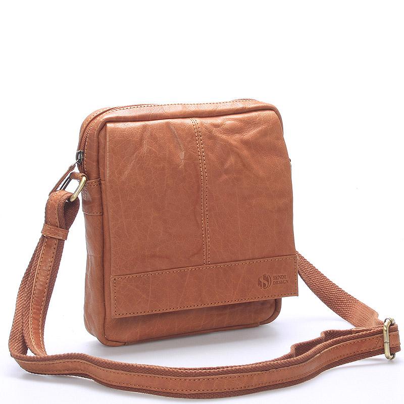 Pánska svetlohnedá prešívaná kožená taška - SendiDesign Bris