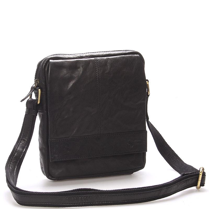Pánska prešívaná kožená taška čierna- SendiDesign Bris