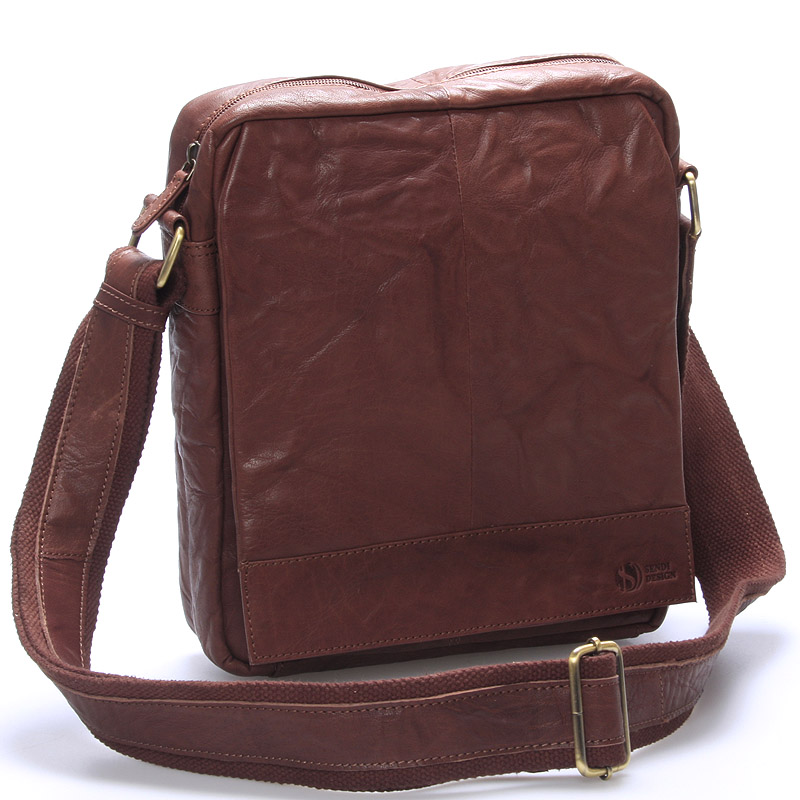 Luxusná veľká kožená crossbody taška hnedá - SendiDesign diverzie