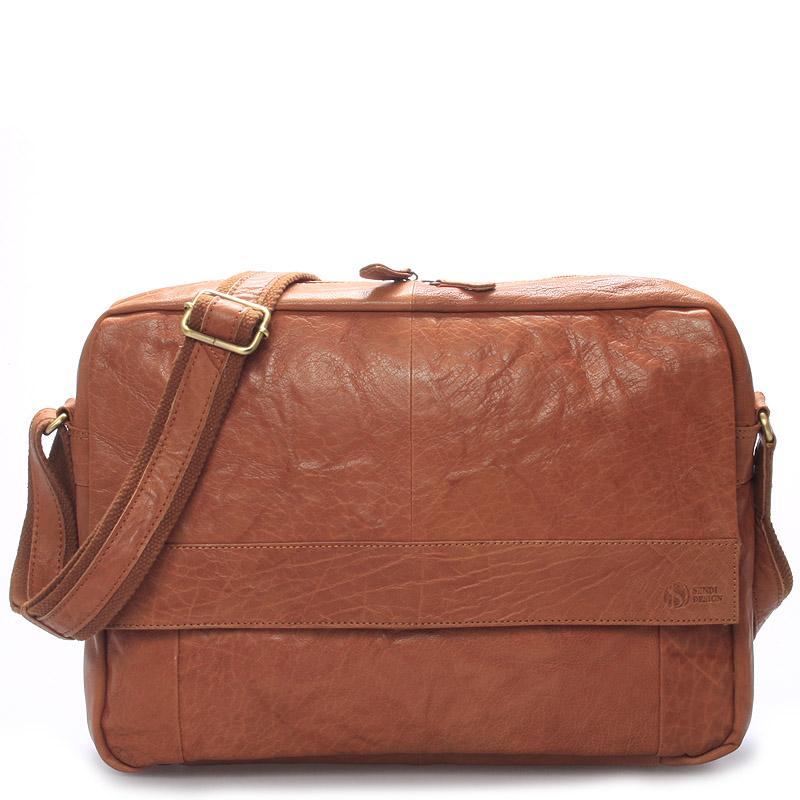 Veľká luxusná pánska kožená taška svetlohnedá - SendiDesign Nethard