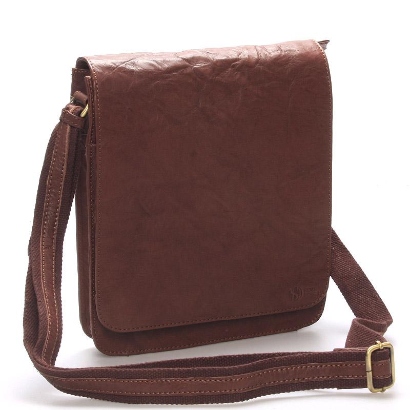 Väčšia pánska kožená crossbody taška hnedá - SendiDesign Darilo