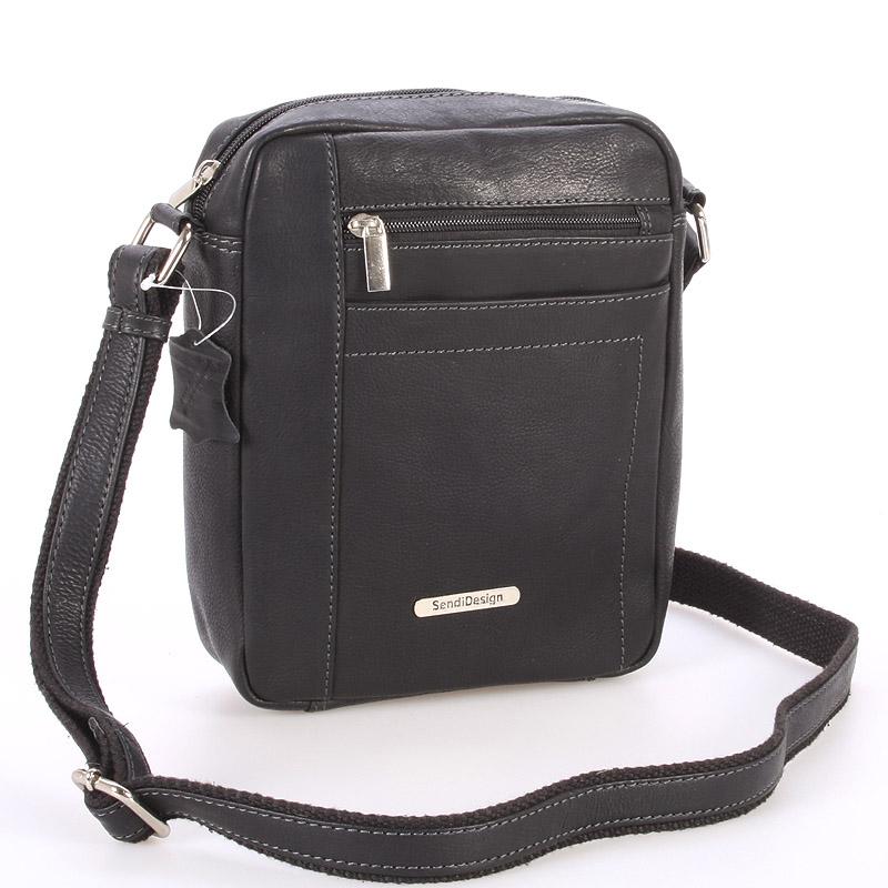 Perfektná pánska čierna kožená taška - SendiDesign Halir