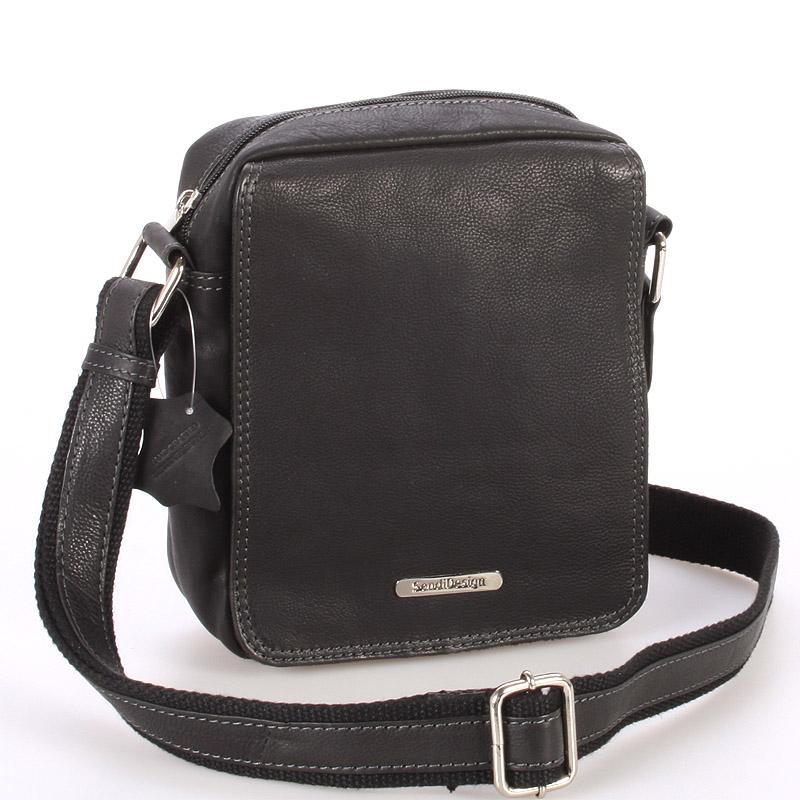 Menšia čierna pánska kožená taška - Sendi Design Merlin