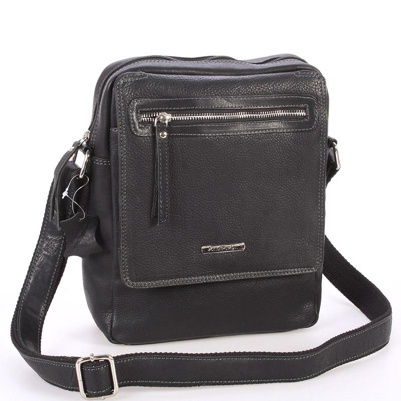 Čierna kožená pánska taška cez rameno - Sendi Design Helio