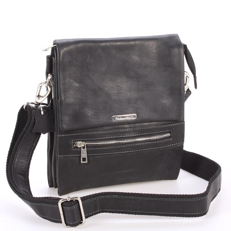 Kvalitná čierna pánska kožená taška - Sendi Design Hektor