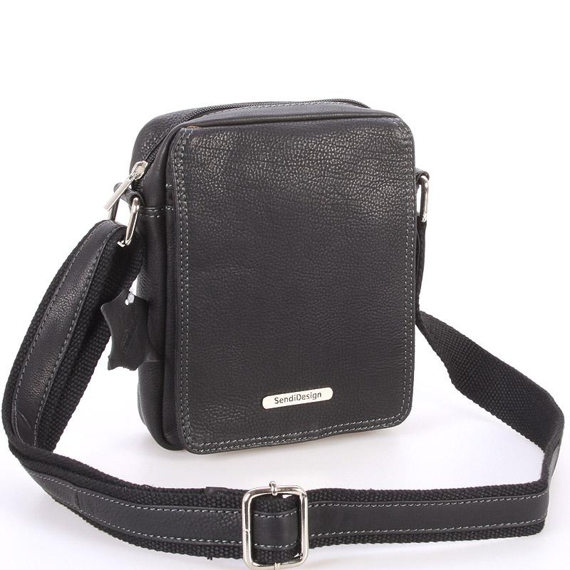 Menšia pánska kožená taška čierna - SendiDesign Merl