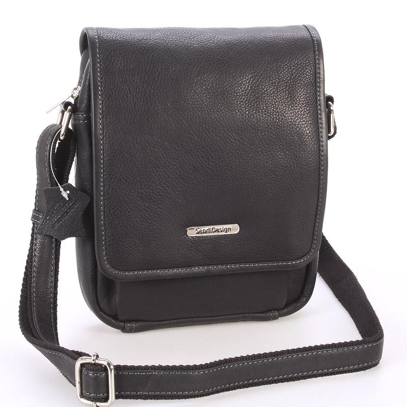 Čierna luxusná kožená pánska taška - Sendi Design Heliodoros