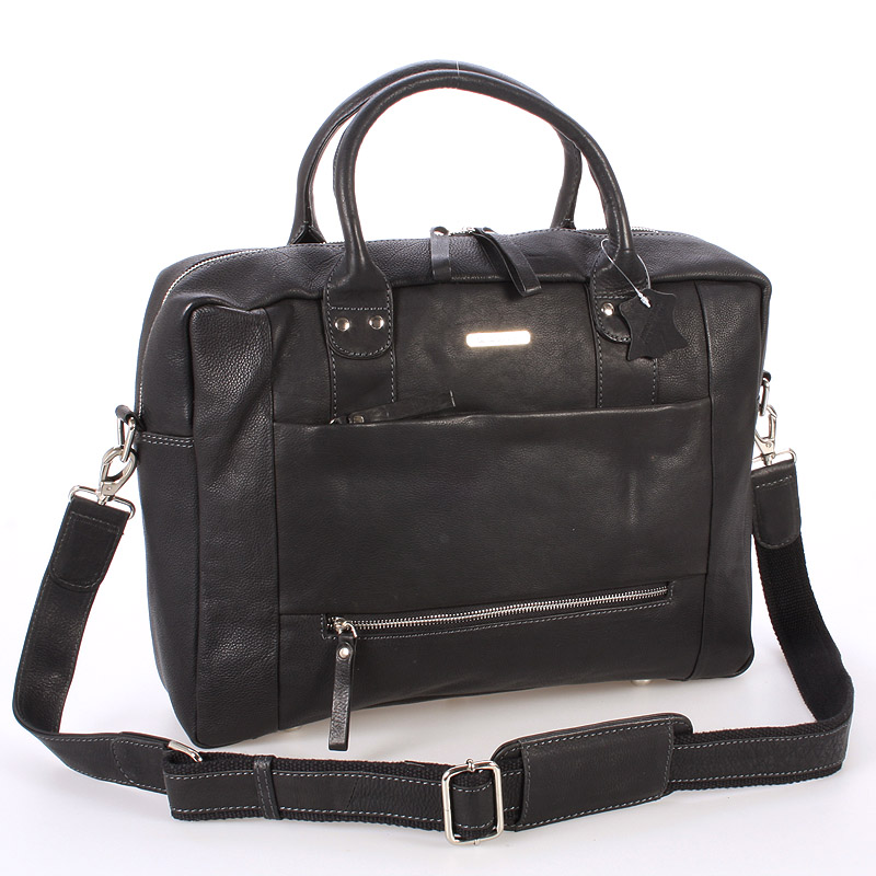 Čierna luxusné a kvalitné kožená taška - send Design Hero