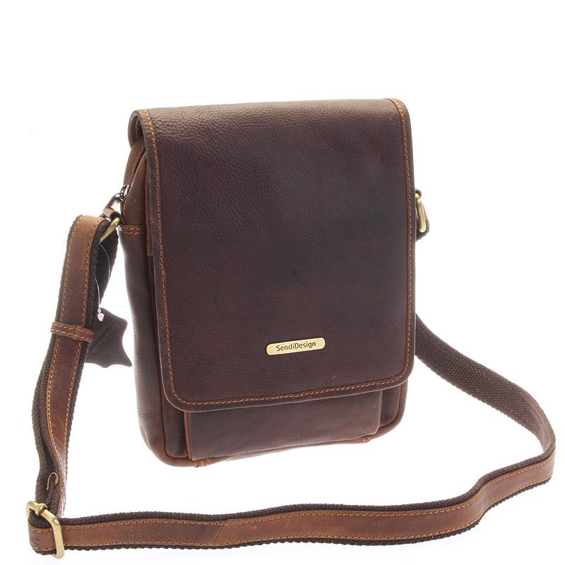 Luxusná kožená pánska taška hnedá - Sendi Design Heliodoros