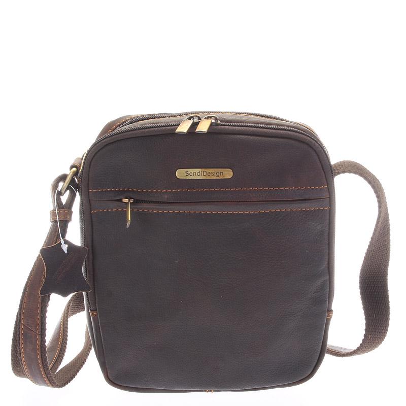 Hnedá pánska štýlová kožená taška - SendiDesign Heracles