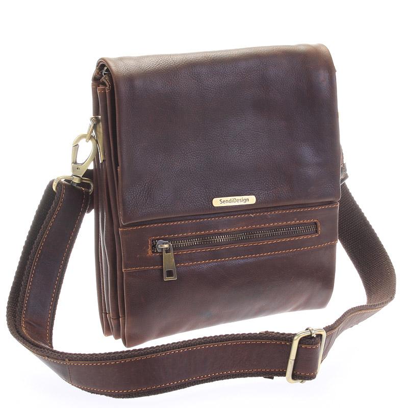 Kvalitná pánska kožená taška hnedá - Sendi Design Hektor