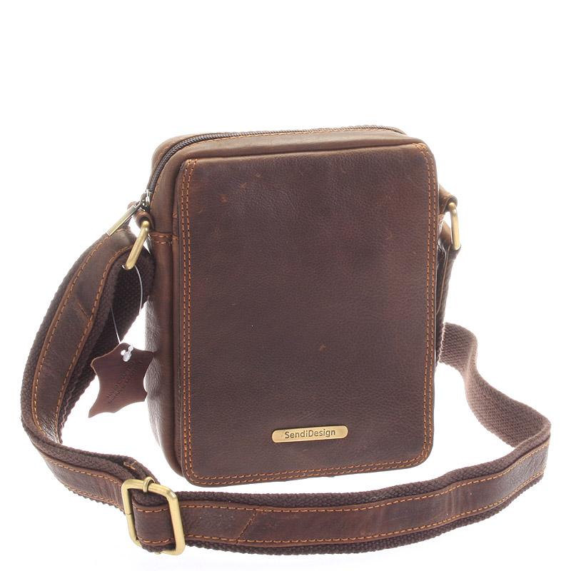 Menšia pánska kožená taška hnedá - SendiDesign Merl