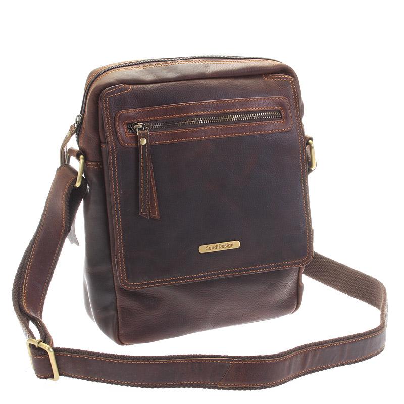 Hnedá kožená pánska taška cez rameno - Sendi Design Helio
