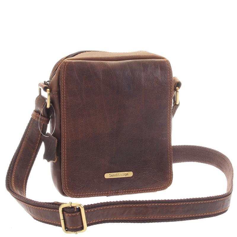 Menšia hnedá pánska kožená taška - Sendi Design Merlin