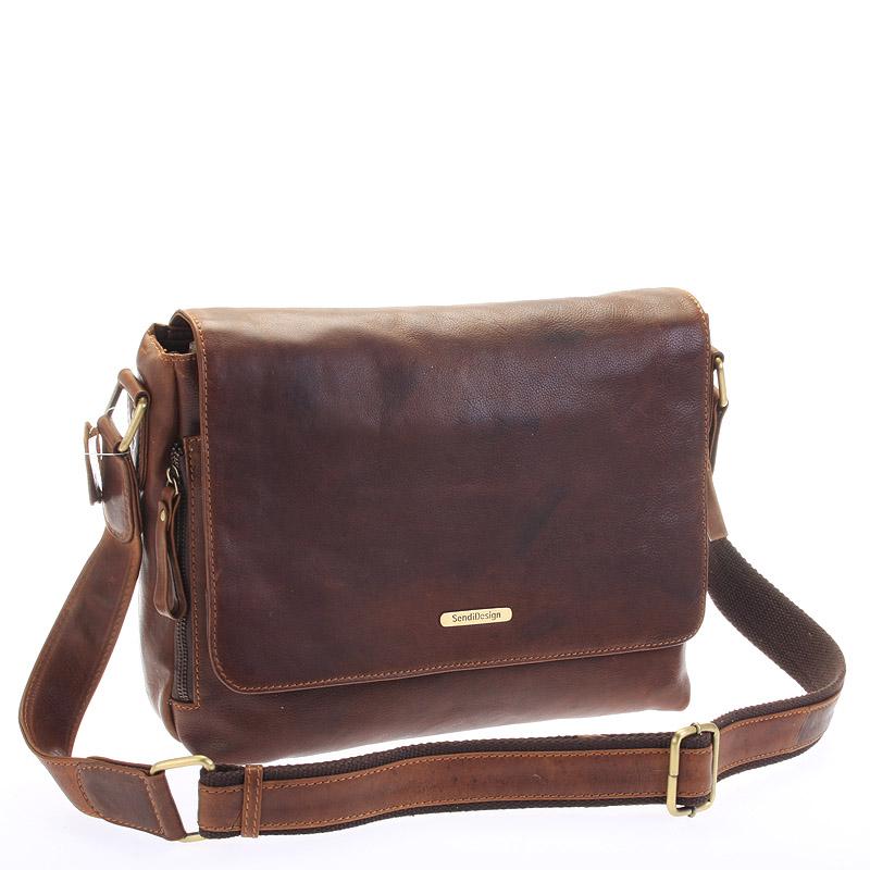 Hnedá luxusná veľká kožená taška - Sendi Design Hermes