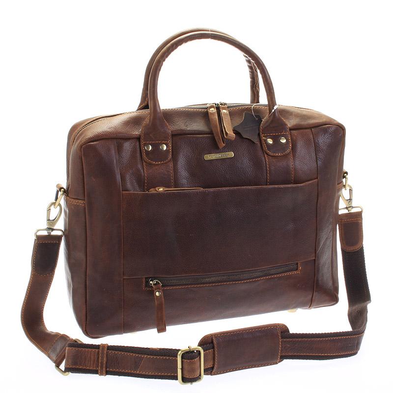 Luxusná kvalitná kožená cestovná taška hnedá - Sendi Design Hero