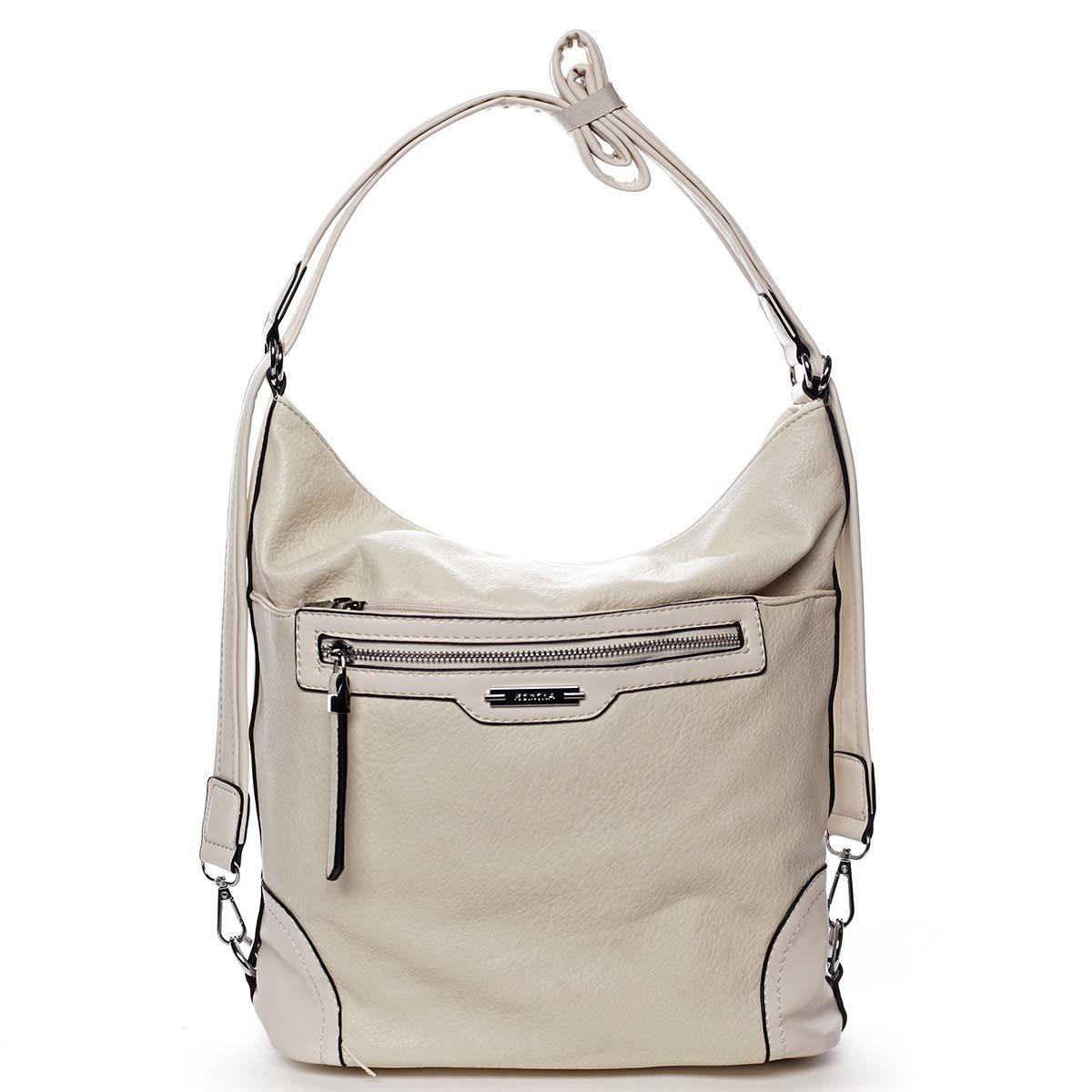 Dámska kabelka batoh svetlo béžová - Romina Zilla
