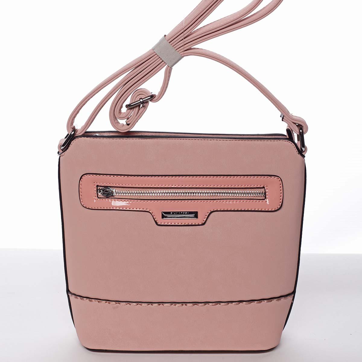 Elegantná dámska ružová crossbody kabelka - Silvia Rosa Meylin