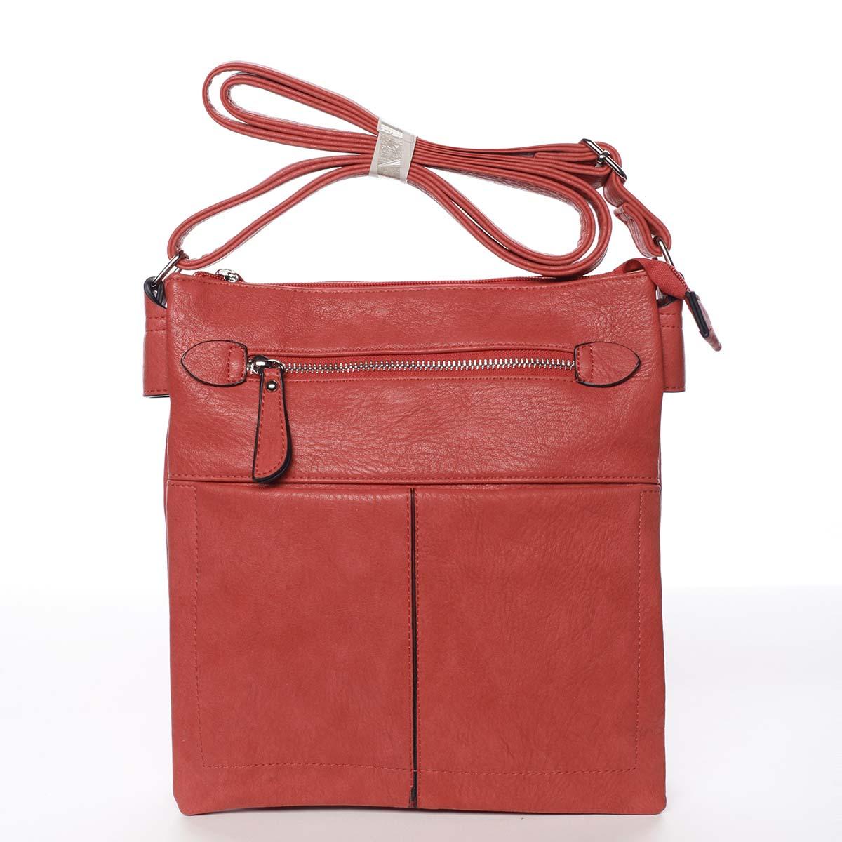 Dámska červená moderná a elegantná crossbody kabelka - Dudlin Ketty