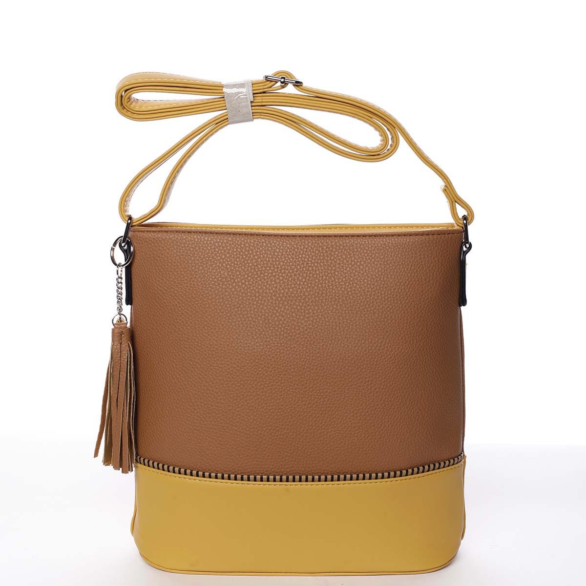 Trendy dámska crossbody kabelka hnedá - Dudlin Adriana