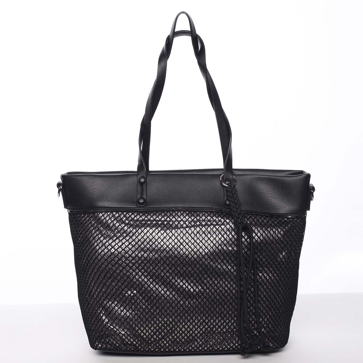 Jedinečná perforovaná dámska kabelka cez plece čierna - Maria C Karolay
