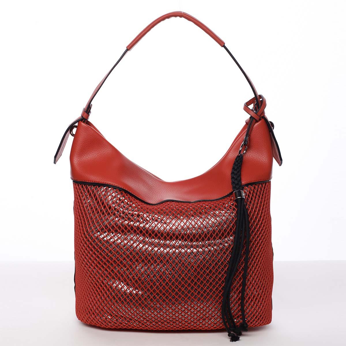 Veľká perforovaná dámska kabelka cez plece červená - Maria C Saghari
