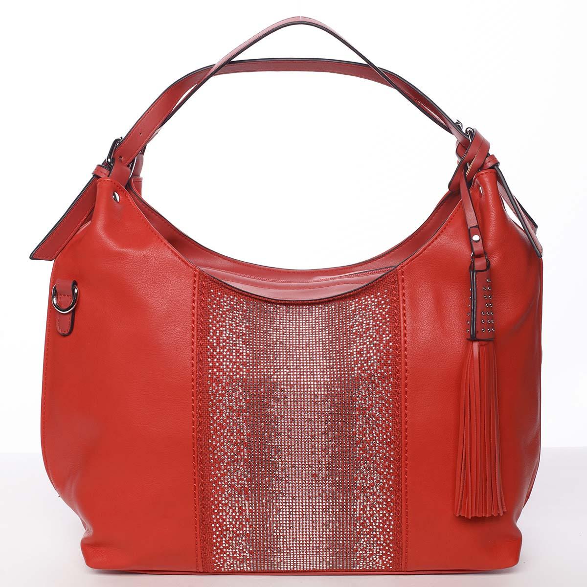 Luxusná červená dámska kabelka cez plece - Maria C Parisa