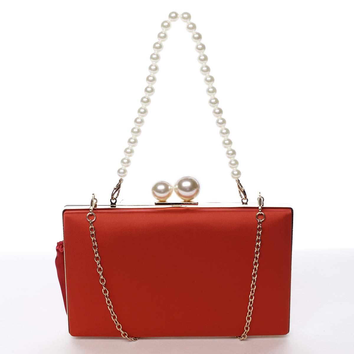 Luxusná dámska saténová listová kabelka s perlami červená - Michelle Moon Seeland