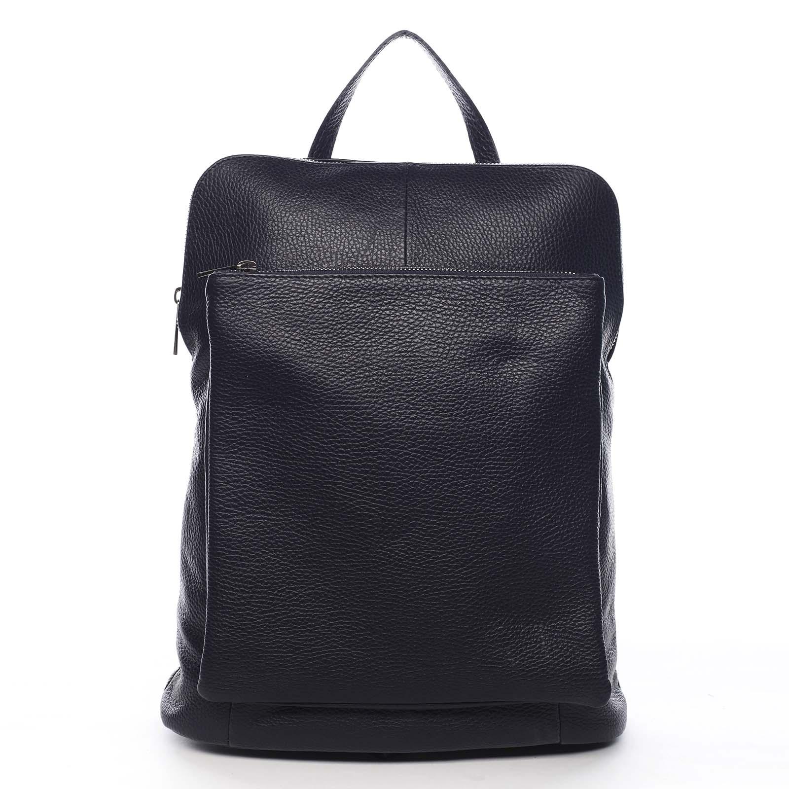 Dámsky kožený batôžtek kabelka čierny - ItalY Houtel