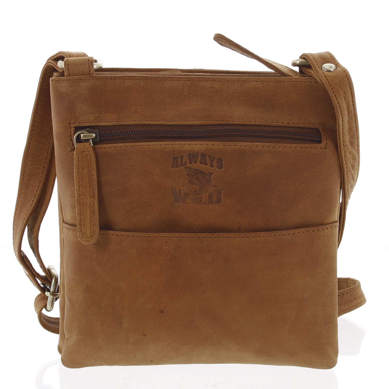 Pánska kožená taška na doklady svetlohnedá - WILD Lukeny