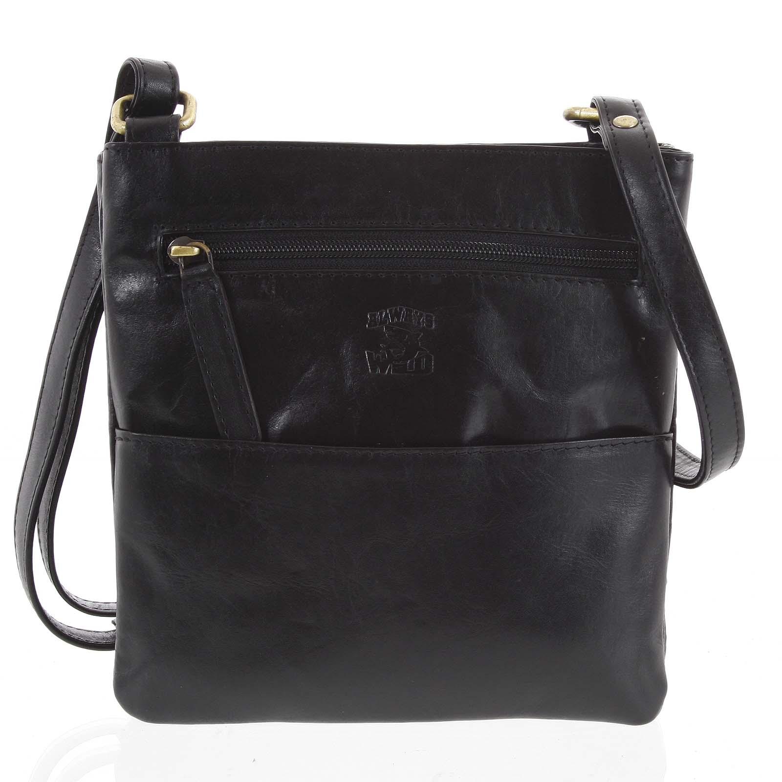 Pánska kožená taška na doklady čierna - WILD Lukeny