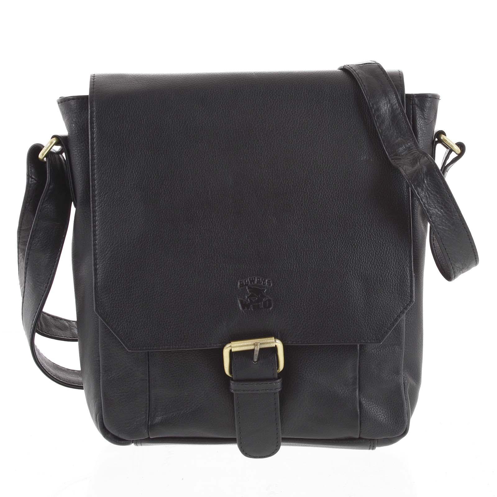 Pánska kožená taška čierna - WILD Janison