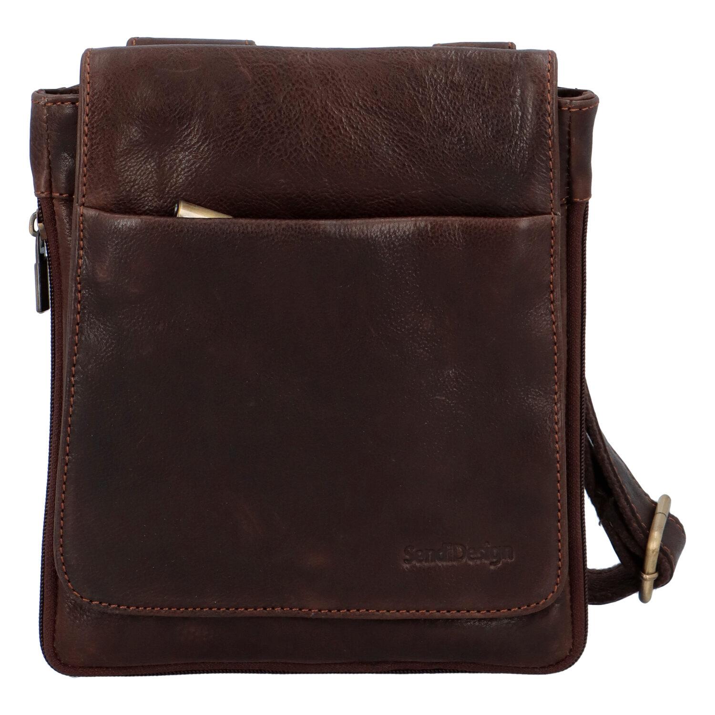 Módna pánska kožená taška cez rameno hnedá - SendiDesign Blayze