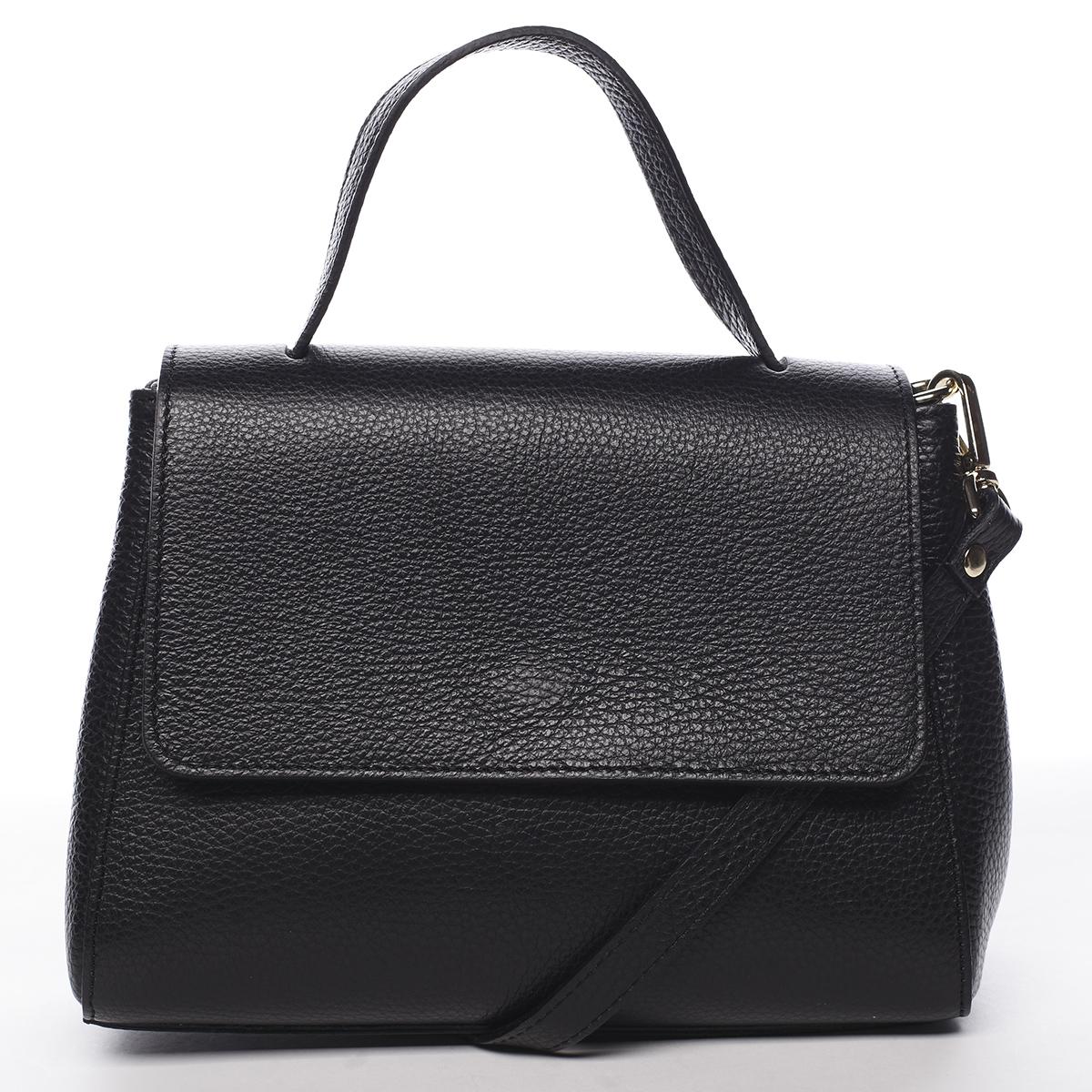 Dámska kožená kabelka do ruky čierna - ItalY Fatismy čierna