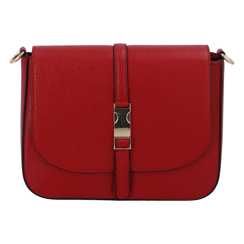 Dámska kožená crossbody kabelka tmavo červená - ItalY Neul červená