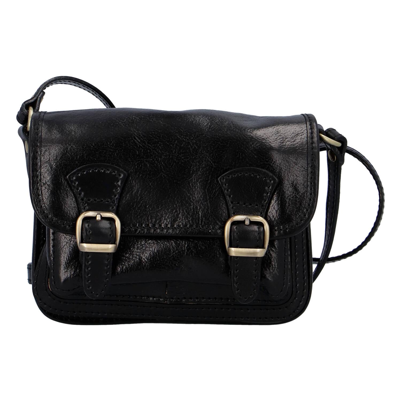 Dámska kožená crossbody kabelka čierna - ItalY Piedri čierna