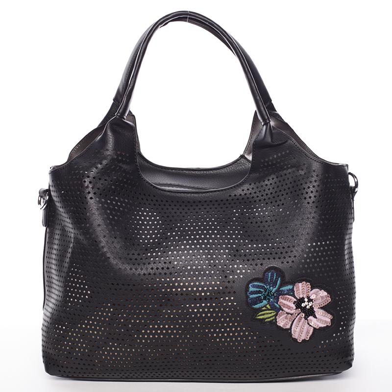 Moderná dámska čierna perforovaná kabelka - Maria C Melaney čierna