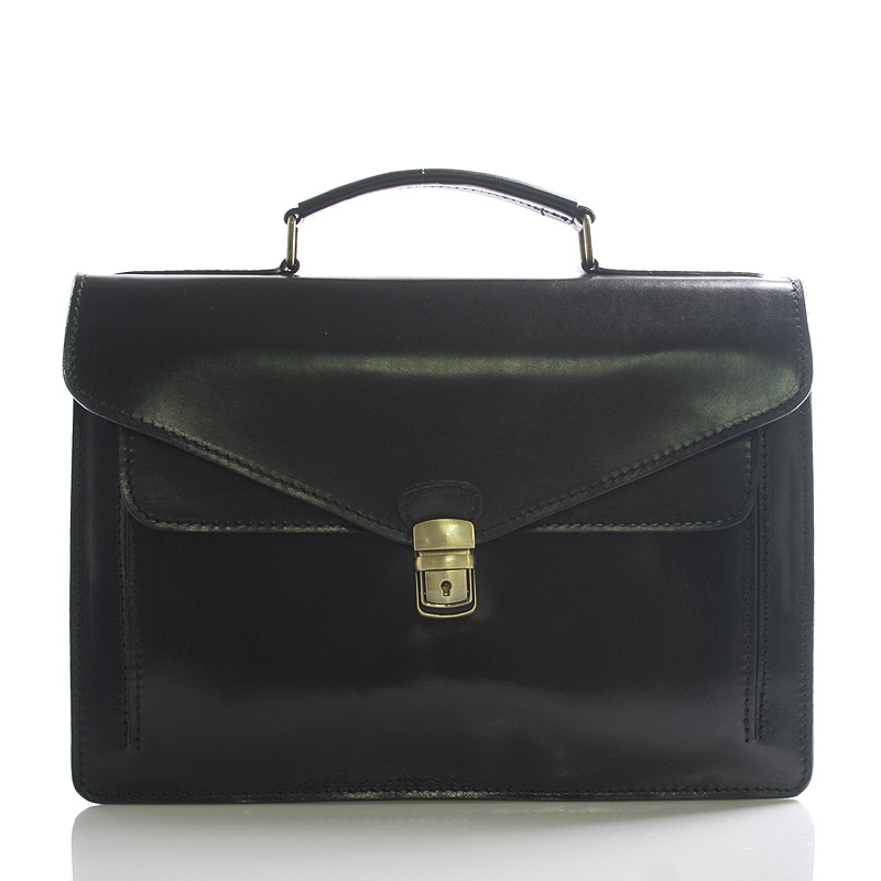 Luxusná čierna kožená aktovka ItalY Kevin čierna