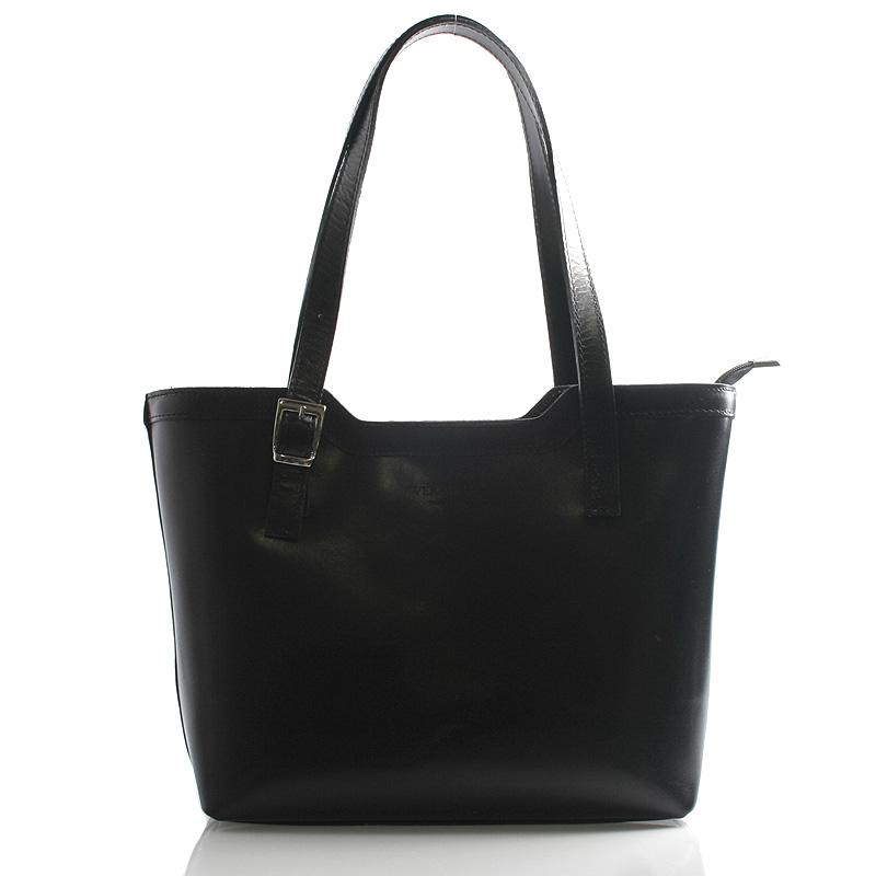 Čierna elegantná kožená kabelka ItalY Melisa čierna