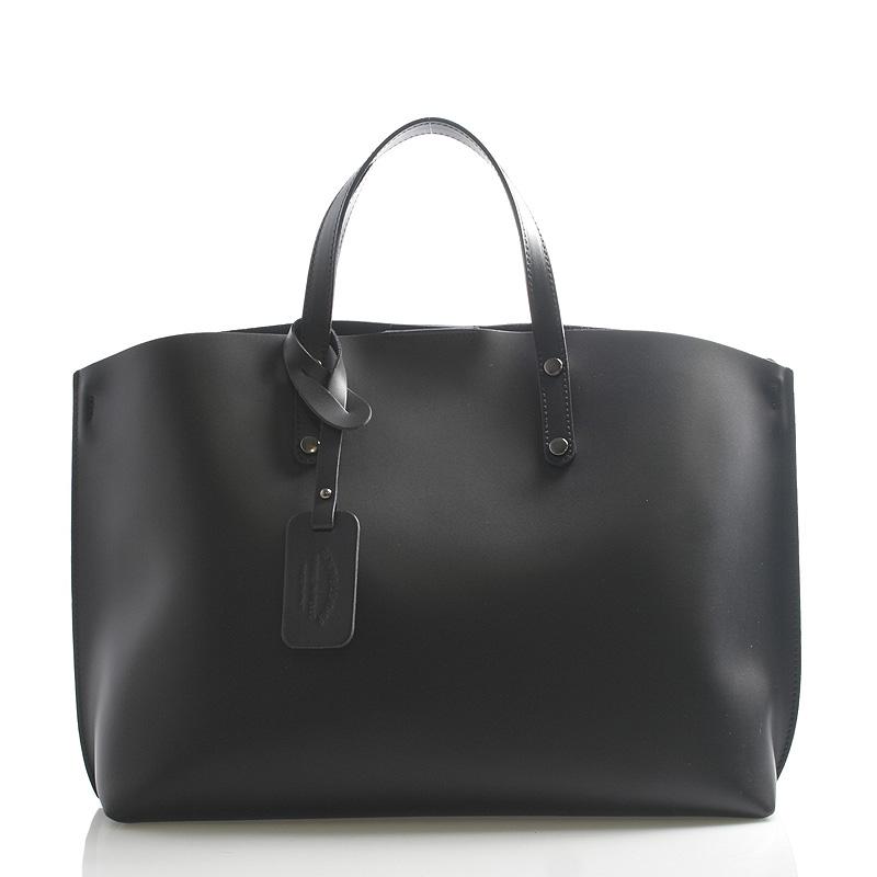 Čierna kožená kabelka do ruky ItalY Jordana čierna
