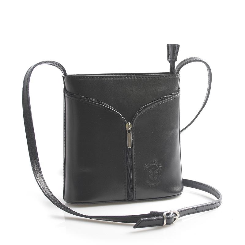 Čierna kožená crossbody kabelka - ItalY Hallie čierna