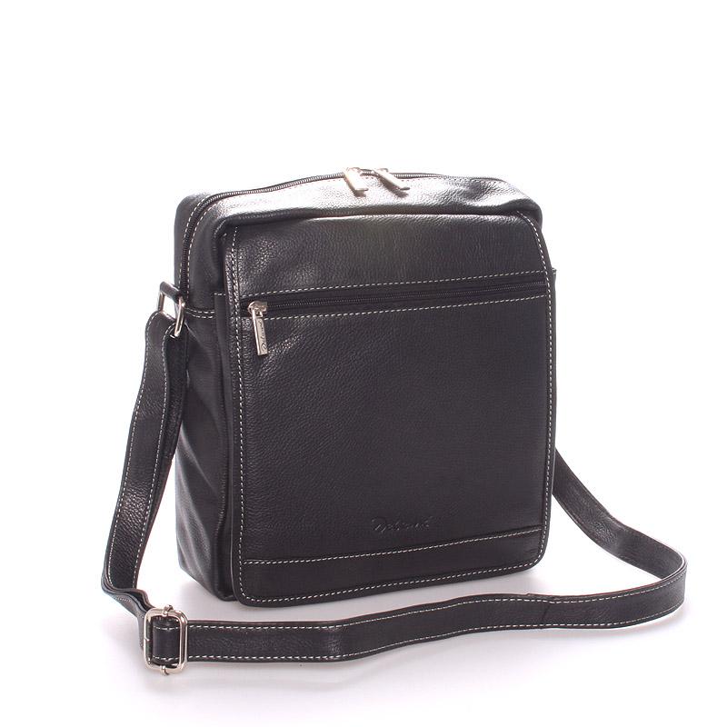 Pánska luxusná kožená taška čierna - Delami Leandro čierna