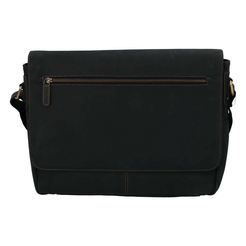 Pánska kožená taška čierna - Tomas Woodoo Two čierna