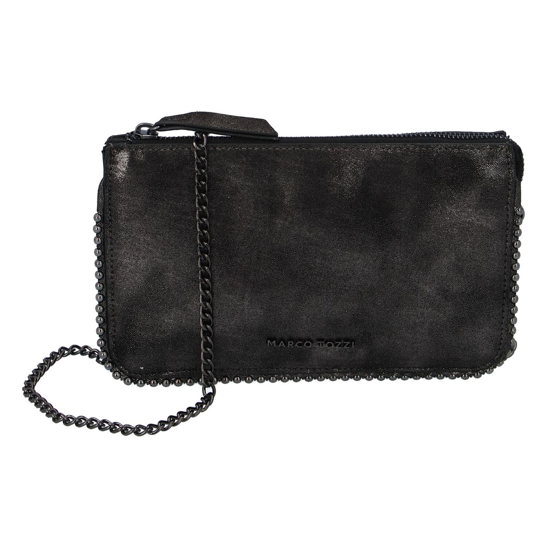 Dámska módna listová kabelka čierno-strieborná - Marco Tozzi Jane strieborná