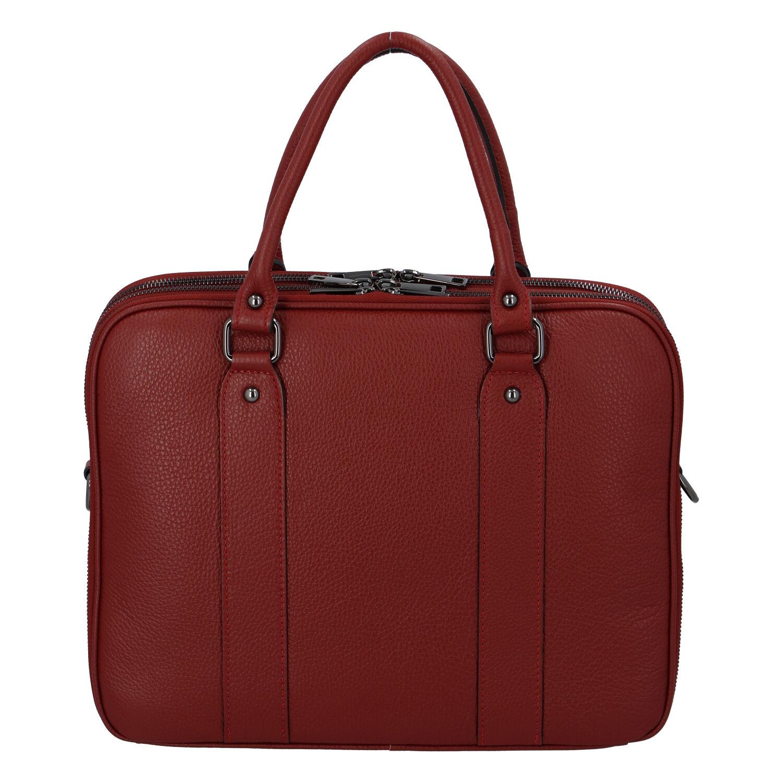 Dámska kožená kabelka aktovka červená - ItalY Dresden červená