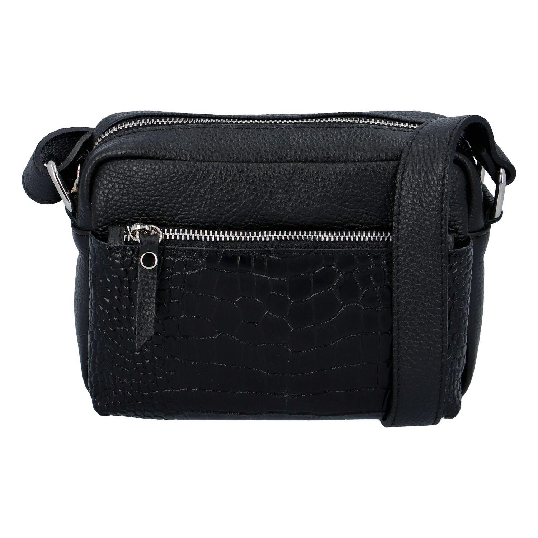 Dámska kožená crossbody kabelka čierna - ItalY Kruba čierna